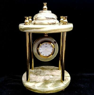 Onyx Marble Clock with brass pillars Ornament