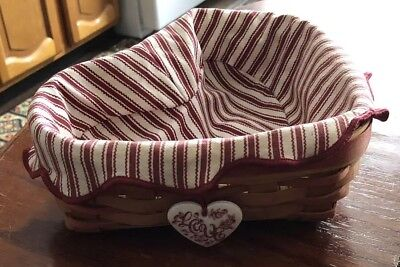 Longaberger Valentine's Day Heart Shaped Lined Hand Woven Basket 1999