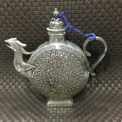 ColleCtible Chinese Miao Silver Handwork Peacock Statue Collection