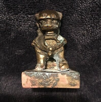 Antique Qing Chinese Bronze Foodog Guardian Lion Seal Signet Heavy
