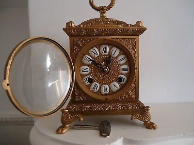 Brass Ornate Mantel Clock Striking On A Bell Enamel Numerals With A Key
