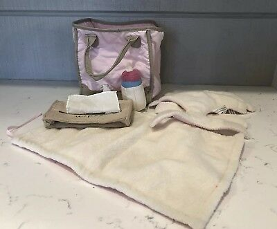 Pottery Barn Kids Baby Doll Diaper Bag Changing Pad Wipes Bottle