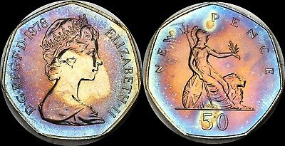 1978 Great Britain 50 New Pence Proof Color Toned High Grade Coin