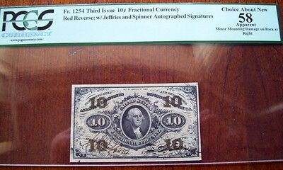 FR.1254 (3rd Issue) 10 cent AUTOGRAPHED, JEFFRIES - SPINNER (PCGS - CH.AU 58)
