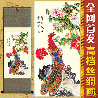 "37""Chinese SuZhou Silk Art Peony Decoration Scroll Painting Drawing S150"