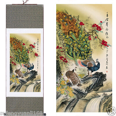 "37""Chinese SuZhou Silk Art Peony Decoration Scroll Painting Drawing S100"