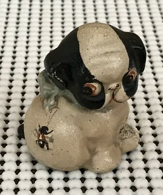 Antique Hubley Cast Iron Puppo With Bee Button Paperweight Puppy Dog Adorable