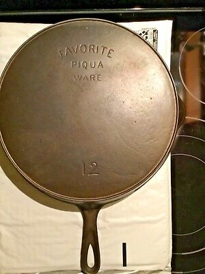 Favorite Piqua Ware Cast Iron #12 Skillet Heat Ring Fry Pan Very Nice