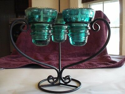 Vint. Iron & 3 Green Glass Insulator Triangle Candle Holder w/LED Tea Lights
