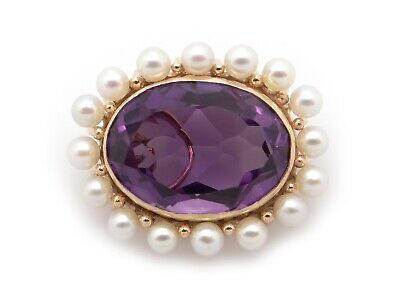 Vintage 14k Yellow Gold 13ct Oval Cut Amethyst Pearl Brooch Pin Pendant