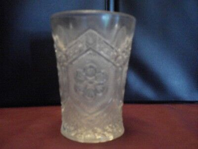 VINTAGE CUT / PRESSED CLEAR GLASS CUP, 4.25 x 3 x 2.5