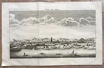Goa India 1756 Nicolas Bellin Nice Antique Engraved View 18Th Century