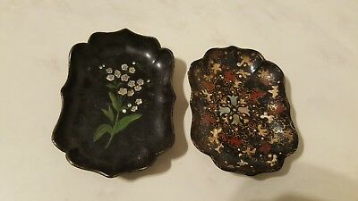 Vintage Miniature Pair Of Paper Mache Oriental Trays Lacquered Hand Painted