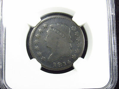 1814 Large Cent CROSSLET 4 S-294 NGC CAC G4BN (016) ti