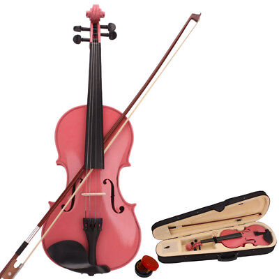 Student 4/4 Full Size Natural Acoustic Violin Fiddle with Case Bow Rosin Pink
