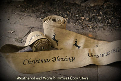 "Primitive Country Aged Muslin Stenciled ""Christmas Blessings"" Garland 8 ft Long"