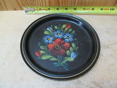 Vintage Russian Tin Decorative Flower Plate or Trinket Tray