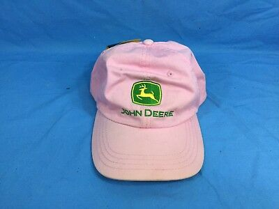 2ea11d6390f66  New  John Deere Pink Green Yellow Hat Cap One Size Fits All Strap Back