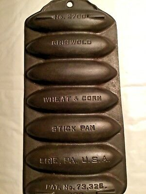 Griswold Cast Iron No. 2700 Wheat & Corn Stick Bread Pan Very Rare Hard To Find