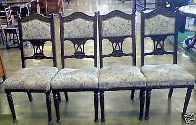 Set of Four Antique   Arts Crafts Carved & Stylised Dining Stand Chairs
