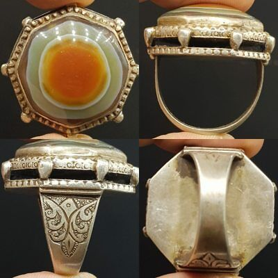 Unique Old Rare Agate Antique Stone Solid Silver Royal Ring    #7D
