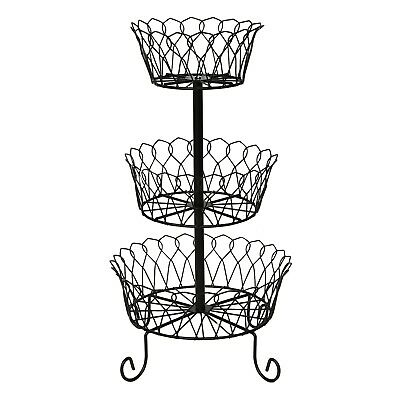 Home District 3 Tier Iron Fruit Basket Stand - Countertop Wire Food Storage