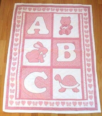 """NEW Pink Quilted ABC Animals Cotton Reversible Quilt Hearts 34"""" x 42"""""""