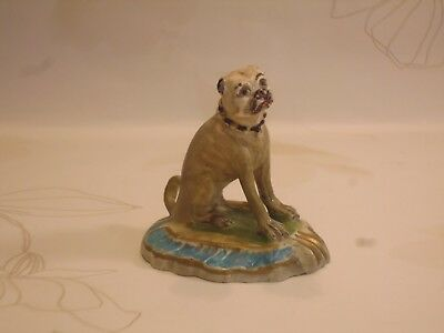 Late 18Th Century Derby Porcelain Figurine Of A French Pug In Seated Position