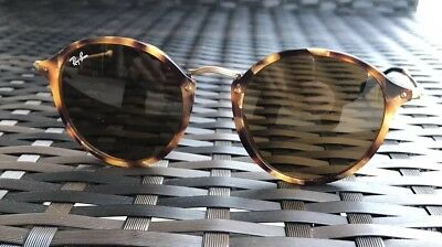 3374111f1715d RAY BAN SUNGLASSES Round Fleck Tortoise Brown Lenses RB2447 52 21 ...