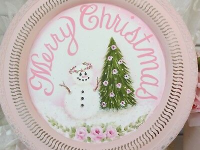 e25b629cd822 OMG! CHRISTMAS SNOWMAN PINK ROSE TRAY byDAS hp hand painted chic shabby  vintage