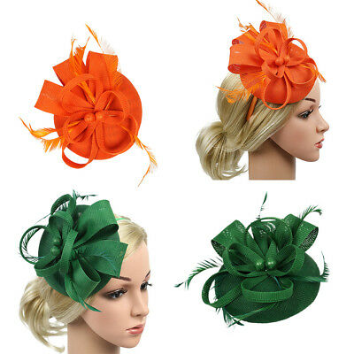 2x Lady Feather Fascinator Cocktail Hat Wedding Derby Pillbox Hats Headbands