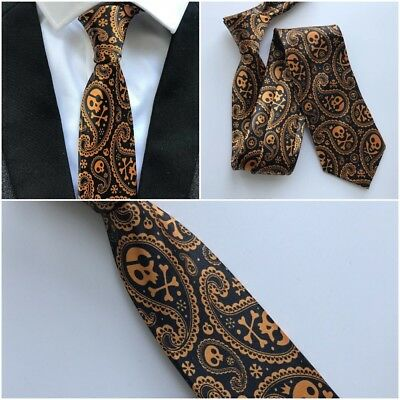 Golden Skull Necktie Men Tie Halloween Fashion Black 8cm Orange Printed Paisley