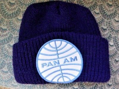 Vintage NEW OLD STOCK Pan Am Airlines Knit Polyester Toboggan Hat Cap Navy
