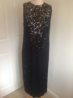 e76481934a5 Bnwt Ladies Long Black Bead Sequin French Connection Evening Dress - 14 Was  £165