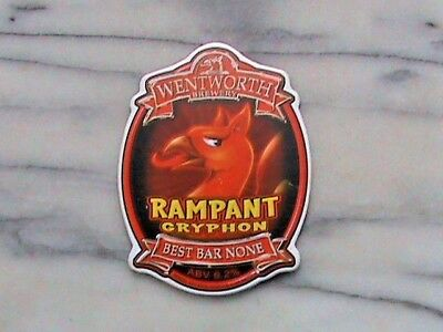 Wentworth Rampant Gryphon real ale beer pump clip sign