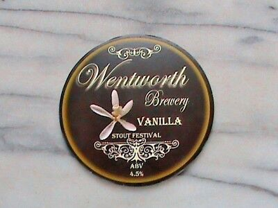 Wentworth Vanilla Stout Festival real ale beer pump clip sign