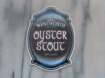 Wentworth Oyster Stout real ale beer pump clip sign
