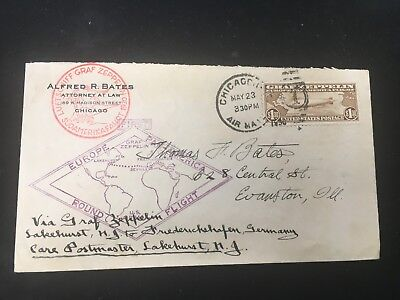 Graf Zeppelin Germany Cover $1.30 Zeppelin Stamp May 1930 Chicago, IL