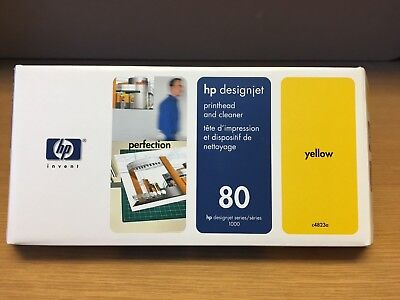 Genuine HP 80 Yellow Ink Printhead & Cleaner C4823A Designjet 1000 Sealed Box