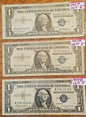 Lot of 3 - $1 Silver Certificate 1957,1957A, & 1957B Last Issue Blue Seal Notes!
