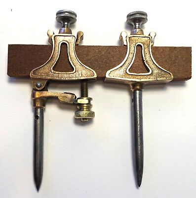 Pair of Vintage Trammel Points - Brass and Metal - Clean