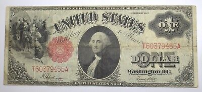 1917 $1 One Dollar Bill United States Red Seal Large Note #99643-12