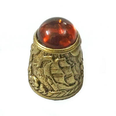Thimble from brass and amber ,rare,very detailed item,collectable