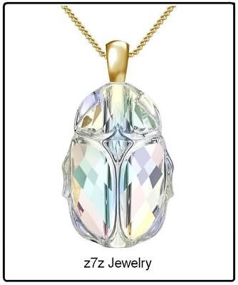 "PURE CRYSTAL SCARAB Necklace - 1/2"" Swarovski clear glass egyptian amulet z7qq"