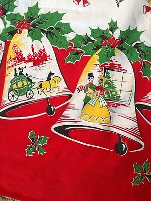 Vintage Christmas Tablecloth, Bells, Holly, 64 x 72