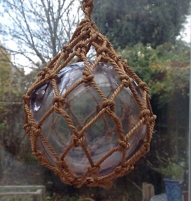 Rare Vintage Sun Turning Glass Fishing Float, LT initials, Manganese Dioxide