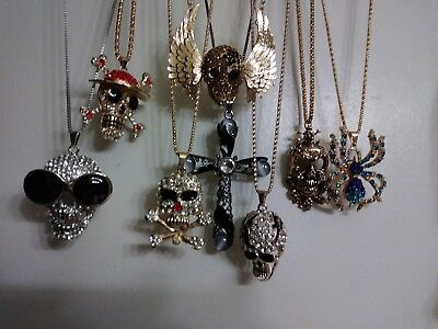 8-Pc Skull Lot of Betsey johnson necklaces
