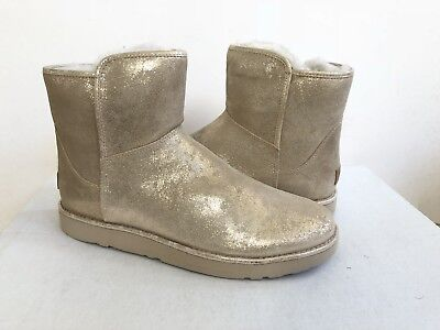 a1e30bf0f1a UGG ABREE MINI STARDUST GOLD SUEDE SHEARLING ANKLE BOOTS, US 8 Or 39 ...
