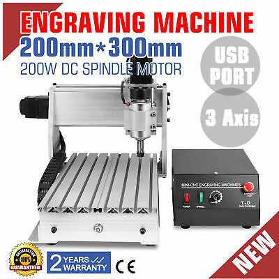 3 Axis 3020T Usb Cnc Router Engraver Engraving Machine 3D 200W Milling Cutter