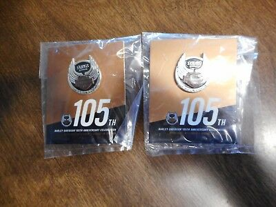 (2) New Harley Davidson 105th Anniversary 2008 Collector Pins